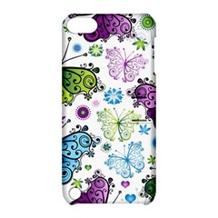 Butterfly Animals Fly Purple Green Blue Polkadot Flower Floral Star Apple Ipod Touch 5 Hardshell Case With Stand by Mariart