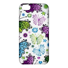 Butterfly Animals Fly Purple Green Blue Polkadot Flower Floral Star Apple Iphone 5c Hardshell Case by Mariart