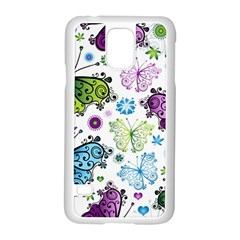 Butterfly Animals Fly Purple Green Blue Polkadot Flower Floral Star Samsung Galaxy S5 Case (white) by Mariart