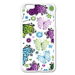 Butterfly Animals Fly Purple Green Blue Polkadot Flower Floral Star Apple Iphone 6 Plus/6s Plus Enamel White Case