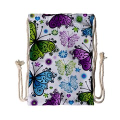 Butterfly Animals Fly Purple Green Blue Polkadot Flower Floral Star Drawstring Bag (small) by Mariart