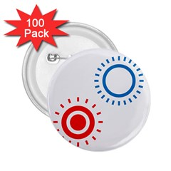 Color Light Effect Control Mode Circle Red Blue 2 25  Buttons (100 Pack)  by Mariart