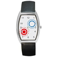 Color Light Effect Control Mode Circle Red Blue Barrel Style Metal Watch by Mariart
