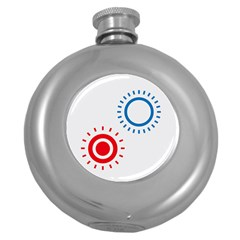 Color Light Effect Control Mode Circle Red Blue Round Hip Flask (5 Oz) by Mariart