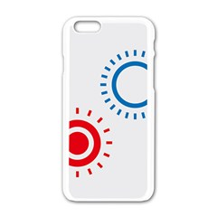 Color Light Effect Control Mode Circle Red Blue Apple Iphone 6/6s White Enamel Case by Mariart