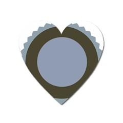 Circle Round Grey Blue Heart Magnet by Mariart