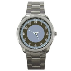 Circle Round Grey Blue Sport Metal Watch