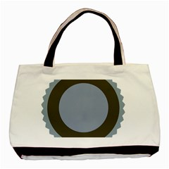 Circle Round Grey Blue Basic Tote Bag (two Sides) by Mariart
