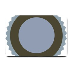 Circle Round Grey Blue Small Doormat  by Mariart