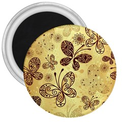Butterfly Animals Fly Purple Gold Polkadot Flower Floral Star Sunflower 3  Magnets