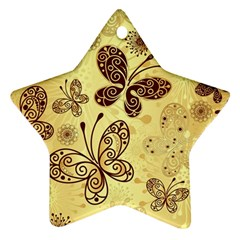 Butterfly Animals Fly Purple Gold Polkadot Flower Floral Star Sunflower Ornament (star) by Mariart