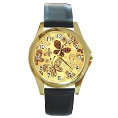Butterfly Animals Fly Purple Gold Polkadot Flower Floral Star Sunflower Round Gold Metal Watch by Mariart