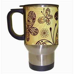 Butterfly Animals Fly Purple Gold Polkadot Flower Floral Star Sunflower Travel Mugs (white) by Mariart