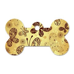 Butterfly Animals Fly Purple Gold Polkadot Flower Floral Star Sunflower Dog Tag Bone (one Side) by Mariart
