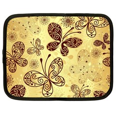 Butterfly Animals Fly Purple Gold Polkadot Flower Floral Star Sunflower Netbook Case (xl)  by Mariart