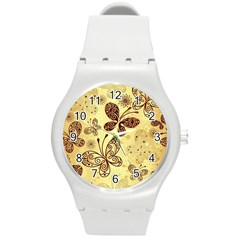Butterfly Animals Fly Purple Gold Polkadot Flower Floral Star Sunflower Round Plastic Sport Watch (m) by Mariart