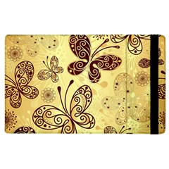 Butterfly Animals Fly Purple Gold Polkadot Flower Floral Star Sunflower Apple Ipad 2 Flip Case by Mariart