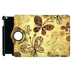 Butterfly Animals Fly Purple Gold Polkadot Flower Floral Star Sunflower Apple Ipad 2 Flip 360 Case by Mariart