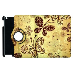 Butterfly Animals Fly Purple Gold Polkadot Flower Floral Star Sunflower Apple Ipad 3/4 Flip 360 Case by Mariart