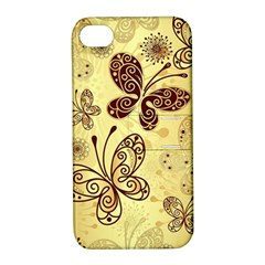 Butterfly Animals Fly Purple Gold Polkadot Flower Floral Star Sunflower Apple Iphone 4/4s Hardshell Case With Stand by Mariart