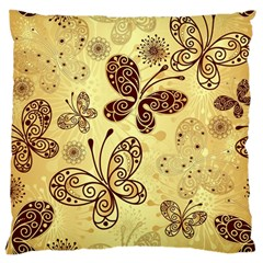 Butterfly Animals Fly Purple Gold Polkadot Flower Floral Star Sunflower Large Flano Cushion Case (one Side) by Mariart