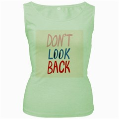 Don t Look Back Big Eye Pink Red Blue Sexy Women s Green Tank Top
