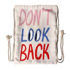 Don t Look Back Big Eye Pink Red Blue Sexy Drawstring Bag (large) by Mariart