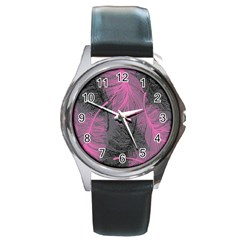 Feathers Quill Pink Grey Round Metal Watch by Mariart
