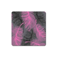 Feathers Quill Pink Grey Square Magnet by Mariart