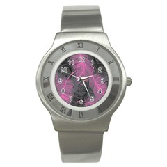 Feathers Quill Pink Grey Stainless Steel Watch by Mariart