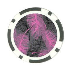 Feathers Quill Pink Grey Poker Chip Card Guard