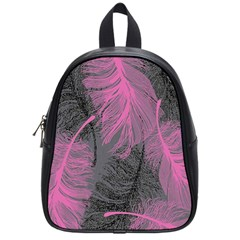 Feathers Quill Pink Grey School Bags (small)