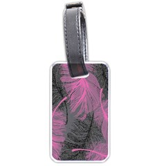 Feathers Quill Pink Grey Luggage Tags (two Sides) by Mariart
