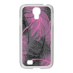 Feathers Quill Pink Grey Samsung Galaxy S4 I9500/ I9505 Case (white) by Mariart