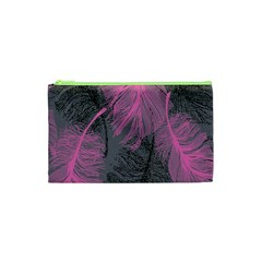 Feathers Quill Pink Grey Cosmetic Bag (xs) by Mariart