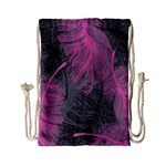 Feathers Quill Pink Grey Drawstring Bag (Small) Front