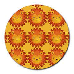 Cute Lion Face Orange Yellow Animals Round Mousepads by Mariart