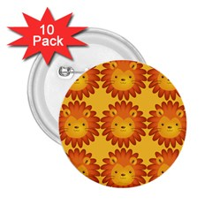 Cute Lion Face Orange Yellow Animals 2 25  Buttons (10 Pack)