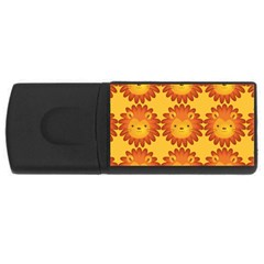 Cute Lion Face Orange Yellow Animals Usb Flash Drive Rectangular (4 Gb) by Mariart