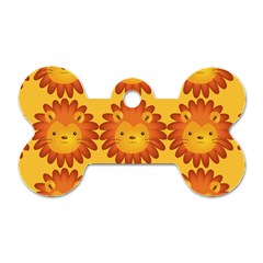 Cute Lion Face Orange Yellow Animals Dog Tag Bone (one Side) by Mariart