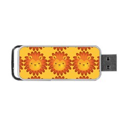 Cute Lion Face Orange Yellow Animals Portable Usb Flash (two Sides) by Mariart