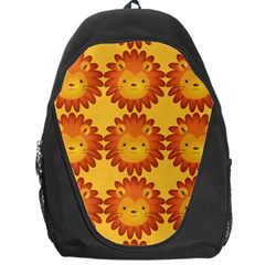 Cute Lion Face Orange Yellow Animals Backpack Bag by Mariart