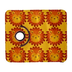 Cute Lion Face Orange Yellow Animals Galaxy S3 (flip/folio) by Mariart