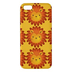 Cute Lion Face Orange Yellow Animals Apple Iphone 5 Premium Hardshell Case by Mariart