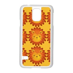 Cute Lion Face Orange Yellow Animals Samsung Galaxy S5 Case (white) by Mariart