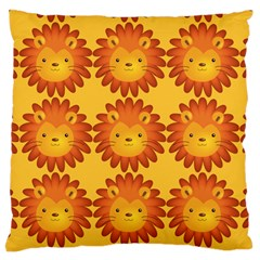 Cute Lion Face Orange Yellow Animals Standard Flano Cushion Case (one Side) by Mariart
