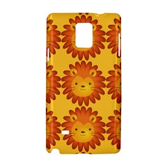Cute Lion Face Orange Yellow Animals Samsung Galaxy Note 4 Hardshell Case