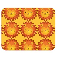 Cute Lion Face Orange Yellow Animals Double Sided Flano Blanket (medium)  by Mariart