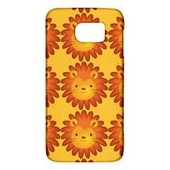 Cute Lion Face Orange Yellow Animals Galaxy S6 by Mariart