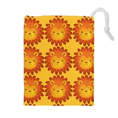 Cute Lion Face Orange Yellow Animals Drawstring Pouches (extra Large)
